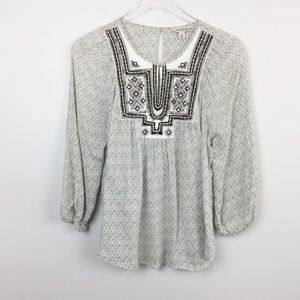 Lucky Brand | Beaded Embellished Peasant Blouse